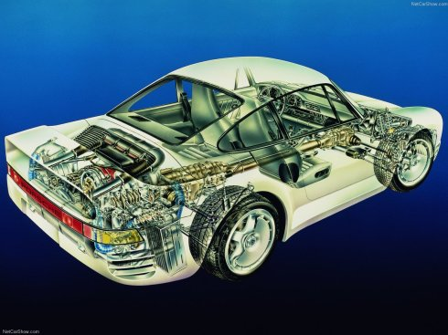 1986 Porsche 959 - Technical Design Drawing